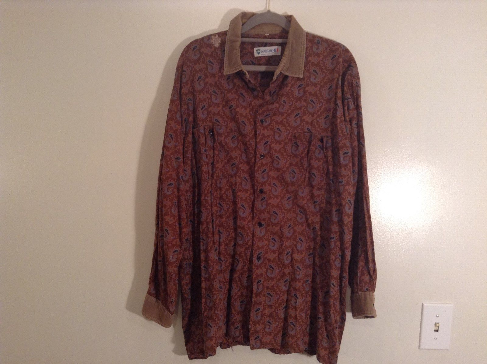 Orange with  Lighter Orange Pattern Size 5 European Long Sleeve Shirt Souleiado