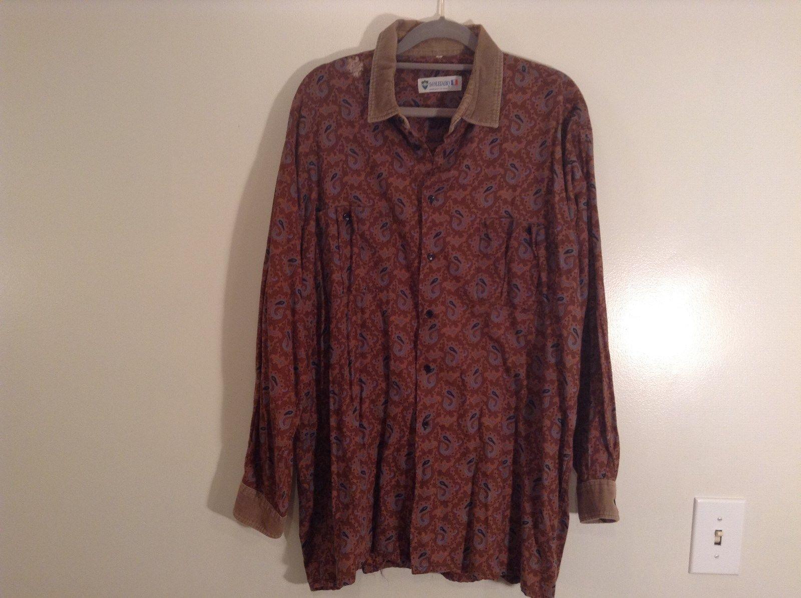 Orange with  Lighter Orange Pattern Size 5 European Long Sleeve Shirt Souleiado
