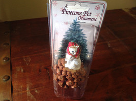 Oriented Short Hair White Cat with Scarf Pine Cone Pet Ornament Real Pine Cone