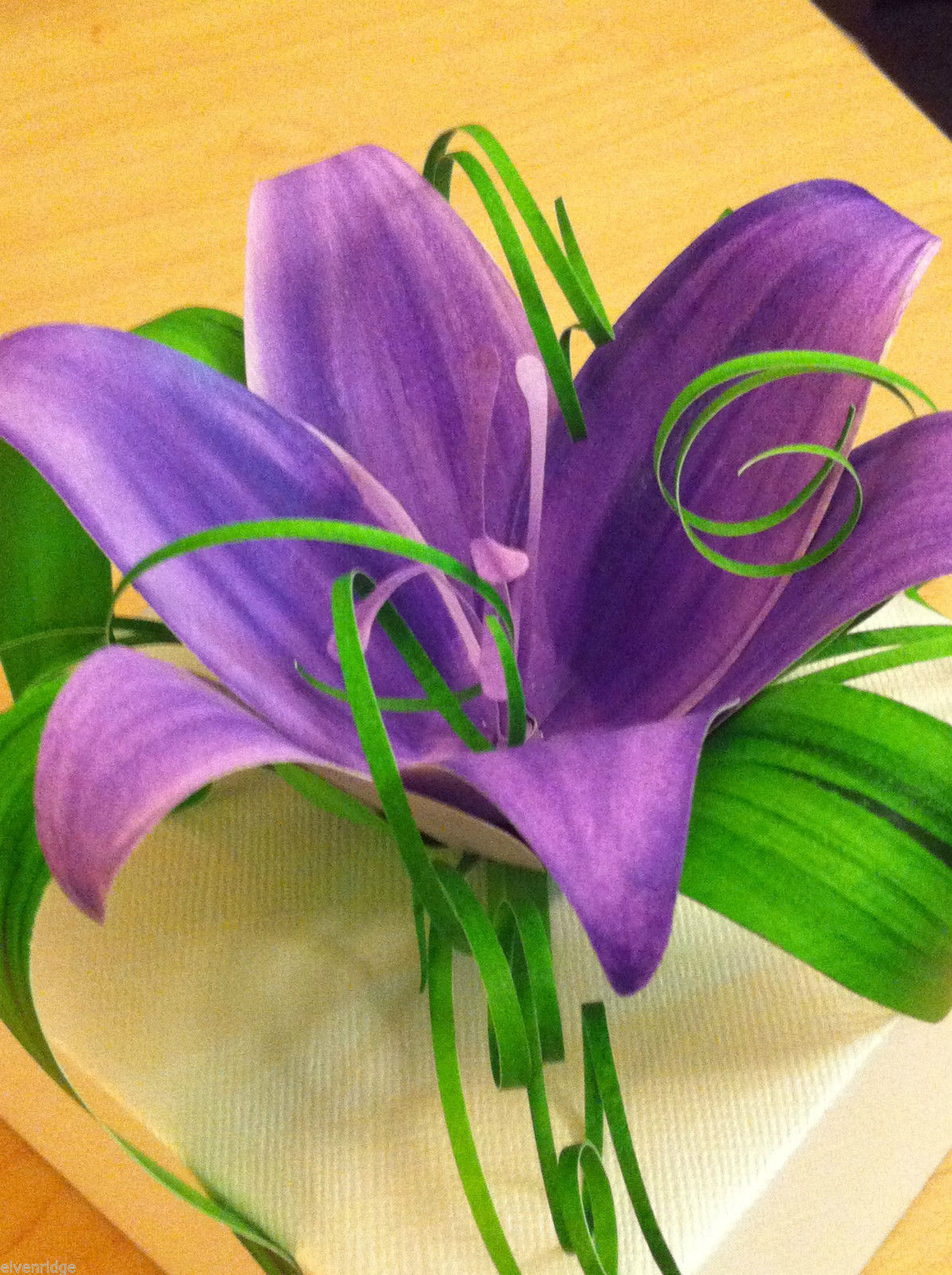 Primary image for Origami White Paper Gift Box adorned w handmade Purple Lily and Greens USA made