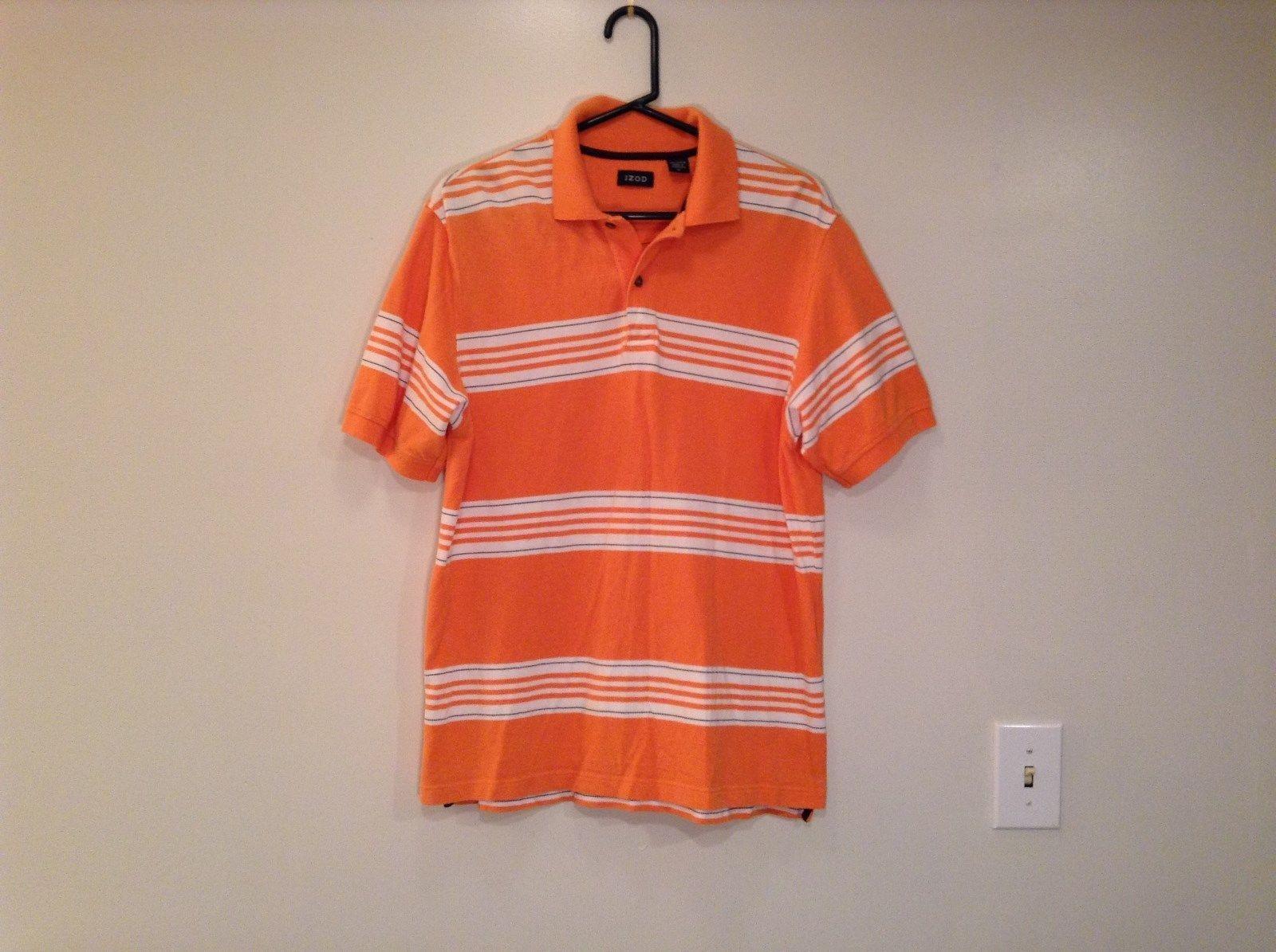 Orange with White and Black Stripes IZOD Size Medium Short Sleeve Polo Shirt