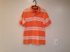 Orange with White and Black Stripes IZOD Size Medium Short Sleeve Polo Shirt