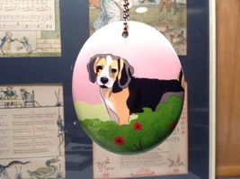 Oval Ceramic Beagle Dog  Ornament w Metal Chain Department 56 NEW