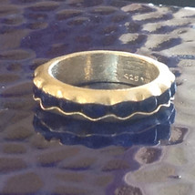 Lapis Lazuli Bead Inset Wave Pattern Sterling Silver Ring Size Choice 7 or 8 image 2