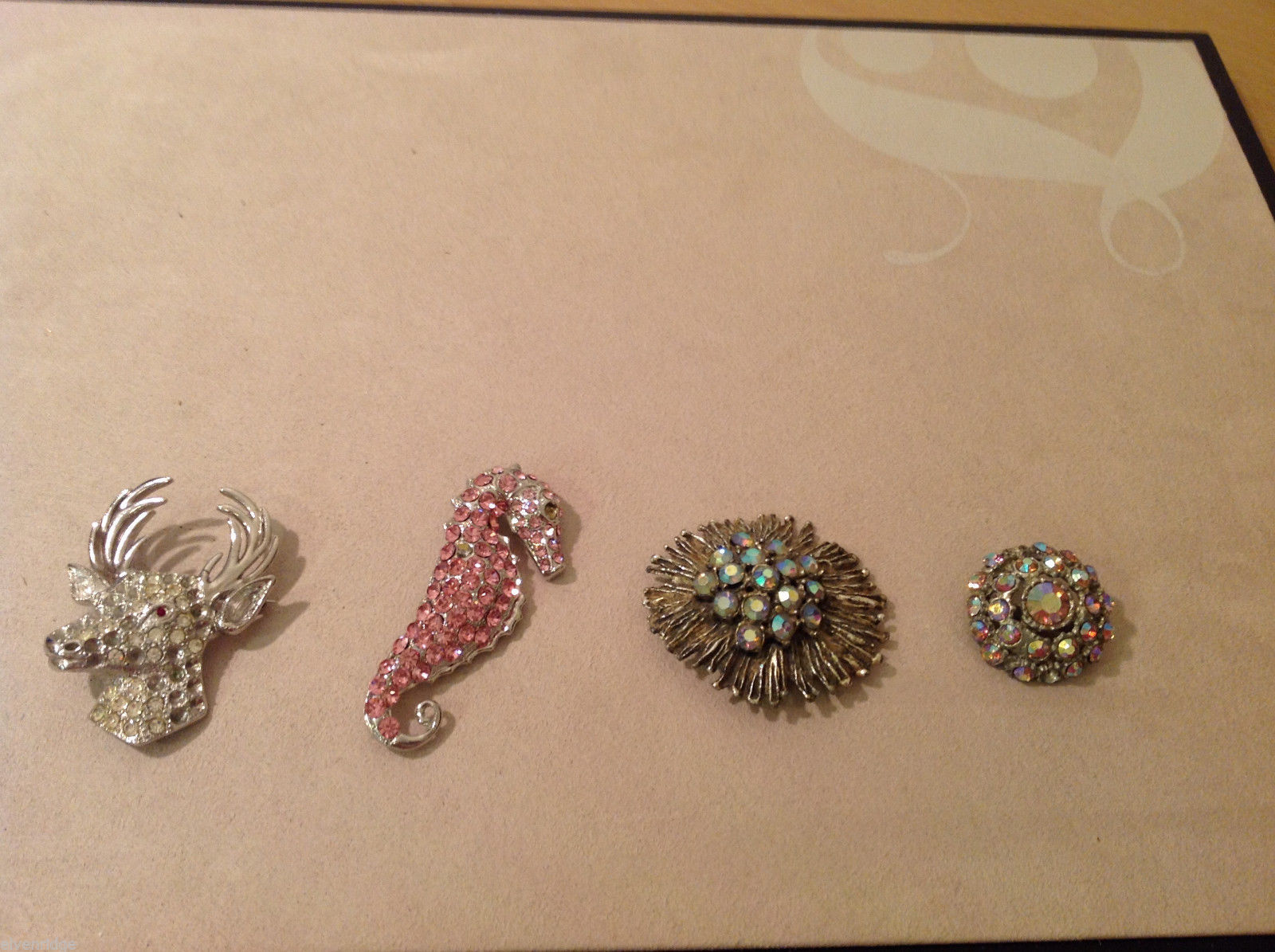 Lot of 4 different Costume Brooch Pins with crystals, assorted shapes and sizes