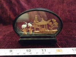 Miniature Japanese Cork Diorama Two Cranes Two Trees and Japanese Hut image 2