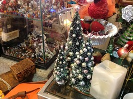 Miniature Christmas tree with ornaments perfect for office or apartment image 2