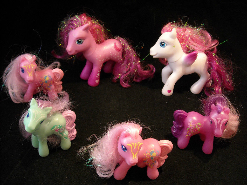 Lot of 6 My Little Pony Dolls white pink green