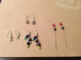 Lot of 4 pairs Silver Tone metal Multi colors Beads dangling earrings