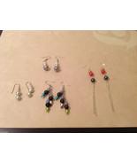 Lot of 4 pairs Silver Tone metal Multi colors Beads dangling earrings - $26.72