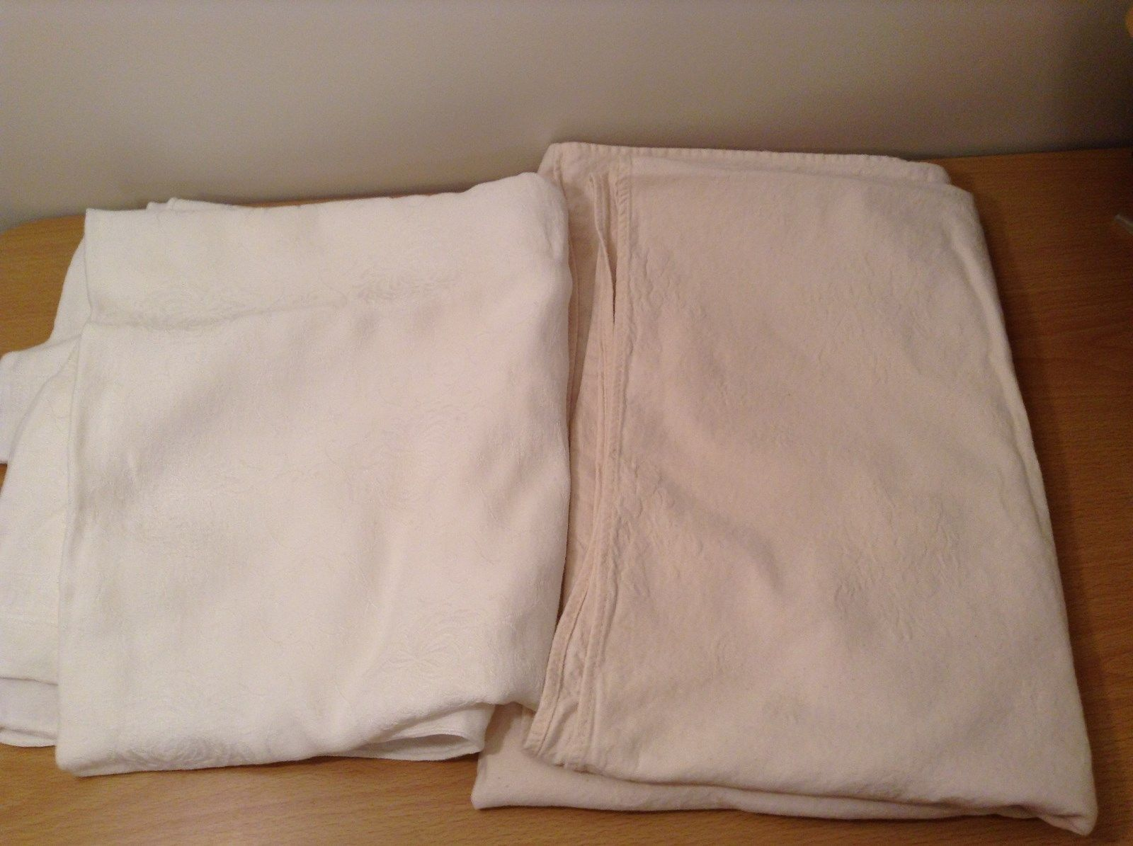 Lot of Two Old Fashion Antique Vintage Tablecloths Linen White and White