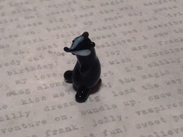 Miniature small hand blown glass black badger made USA NIB image 2