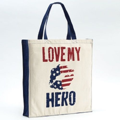 Love my Hero 100% Cotton gusseted tote carry handbag sack red white and blue