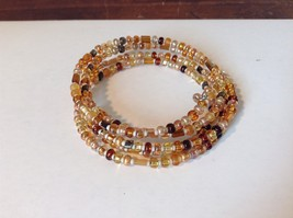 Amber Colored Shiny Beaded Coil Adjustable Bracelet image 2