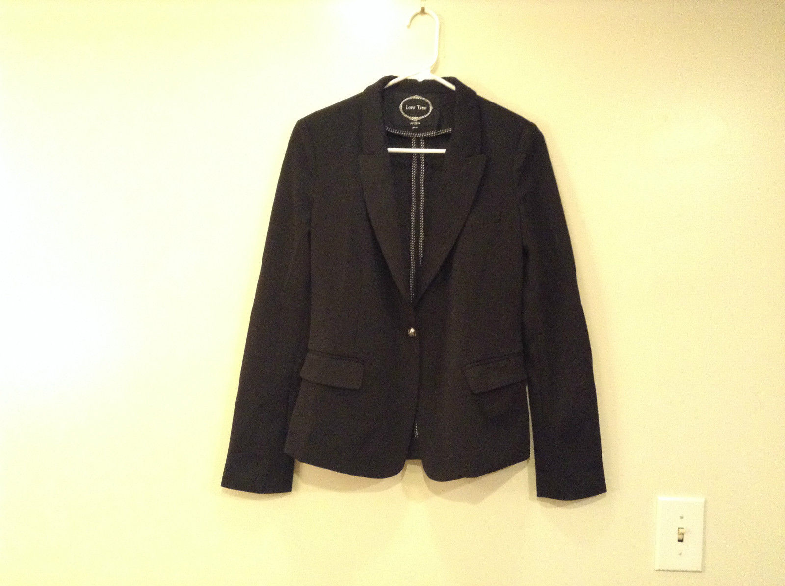 Love Tree Black with Black White Stripes Blazer Jacket Front Pockets Size M