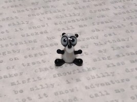 Miniature small hand blown glass black white comical panda bear made USA NIB image 2