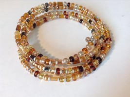 Amber Colored Shiny Beaded Coil Adjustable Bracelet image 3
