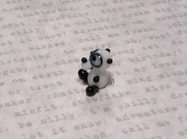 Miniature small hand blown glass black white comical panda bear made USA NIB image 3