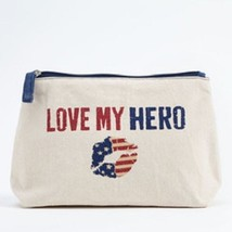 Love my Hero  travel cosmetic bag red white and blue