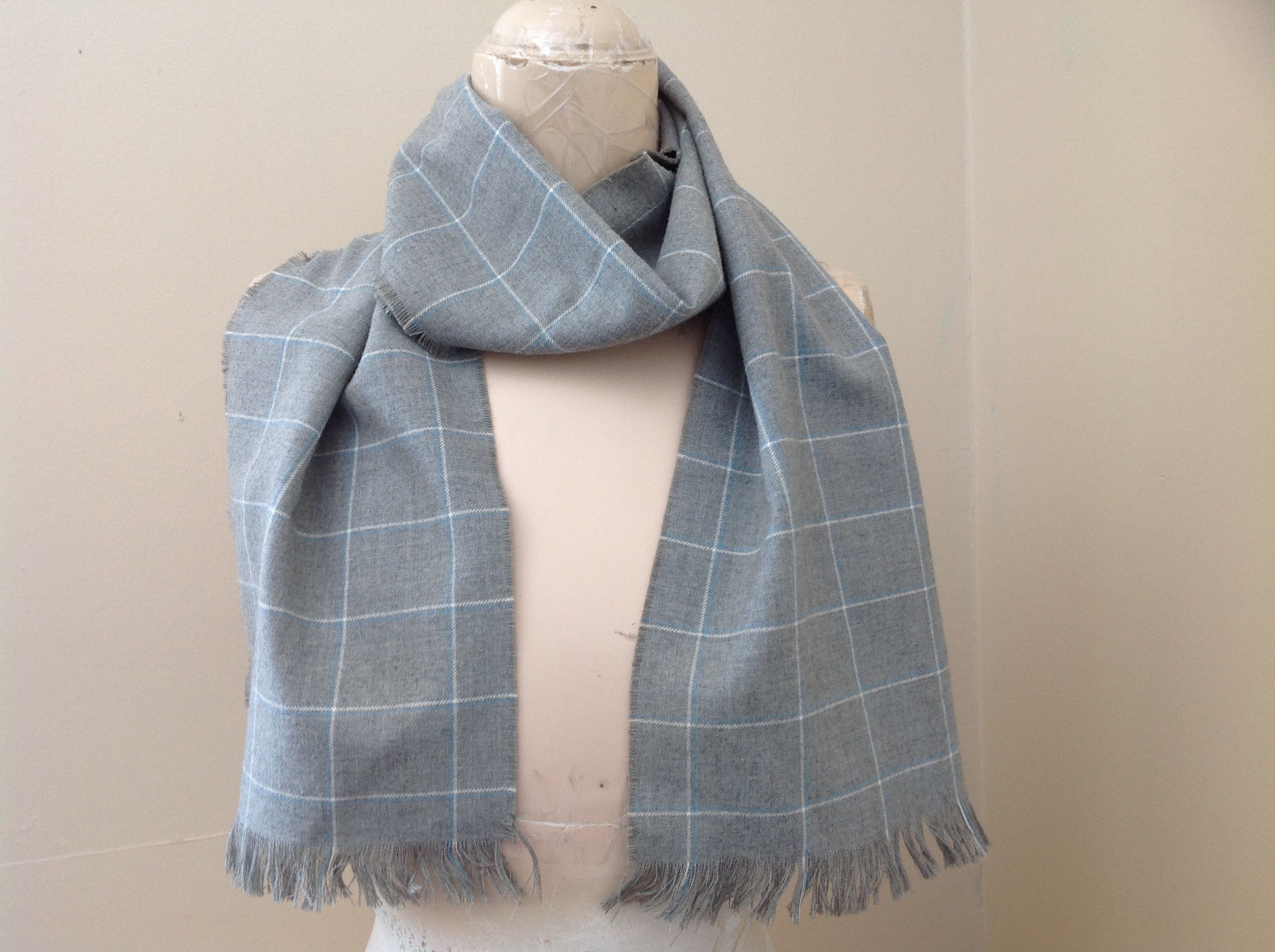Lovely Heather Gray Plaid Fringe Scarf 58 Inches Long