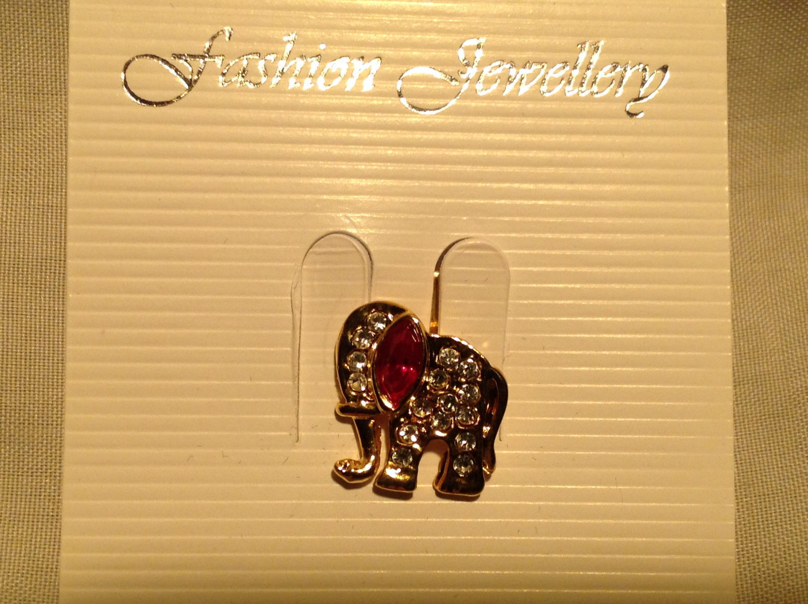 Lovely Elephant Gold Tone with White and Red Crystal Decorated Pin