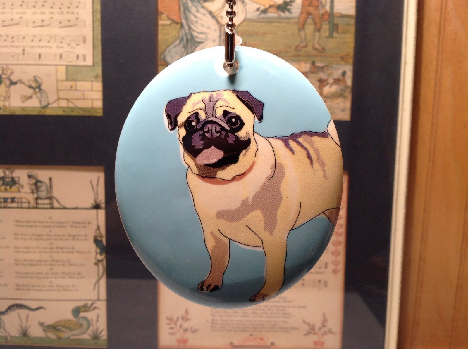 Oval Ceramic Pug Dog Light Blue Background Ornament w Metal Chain Department 56