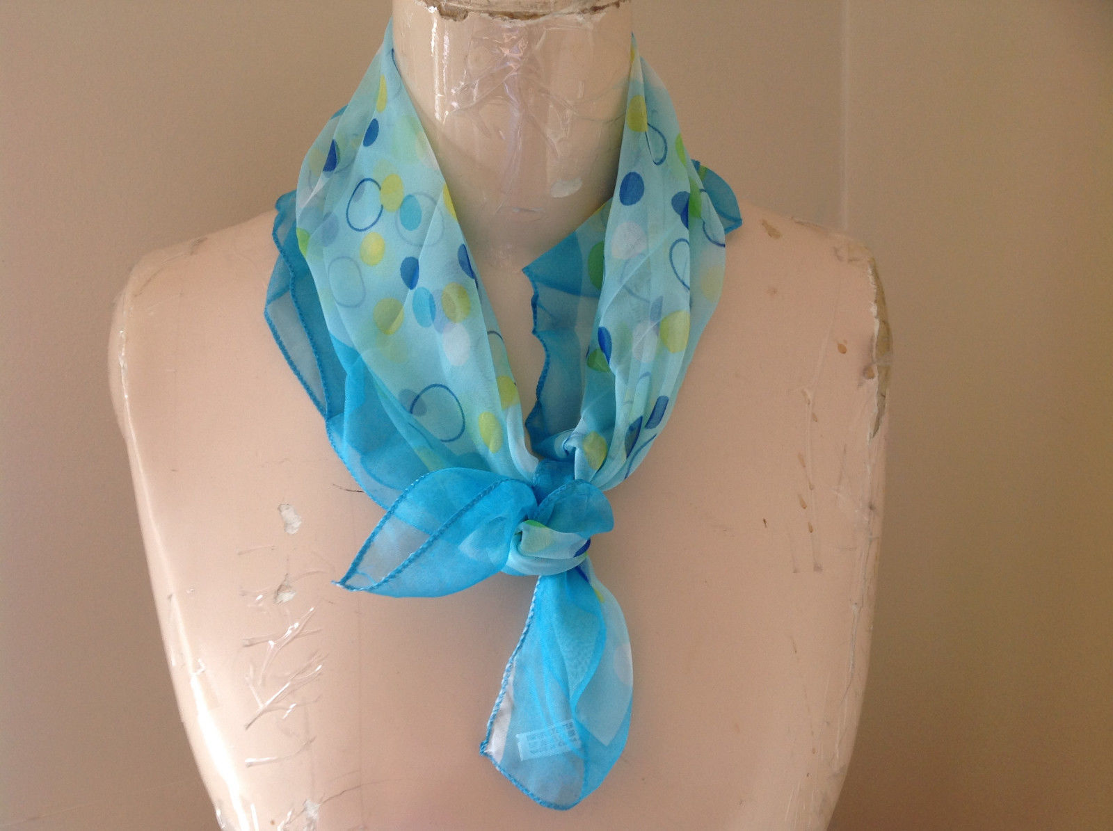 Oval Dot Blue Green Yellow Design Square Scarf Light Weight Material Hanfei