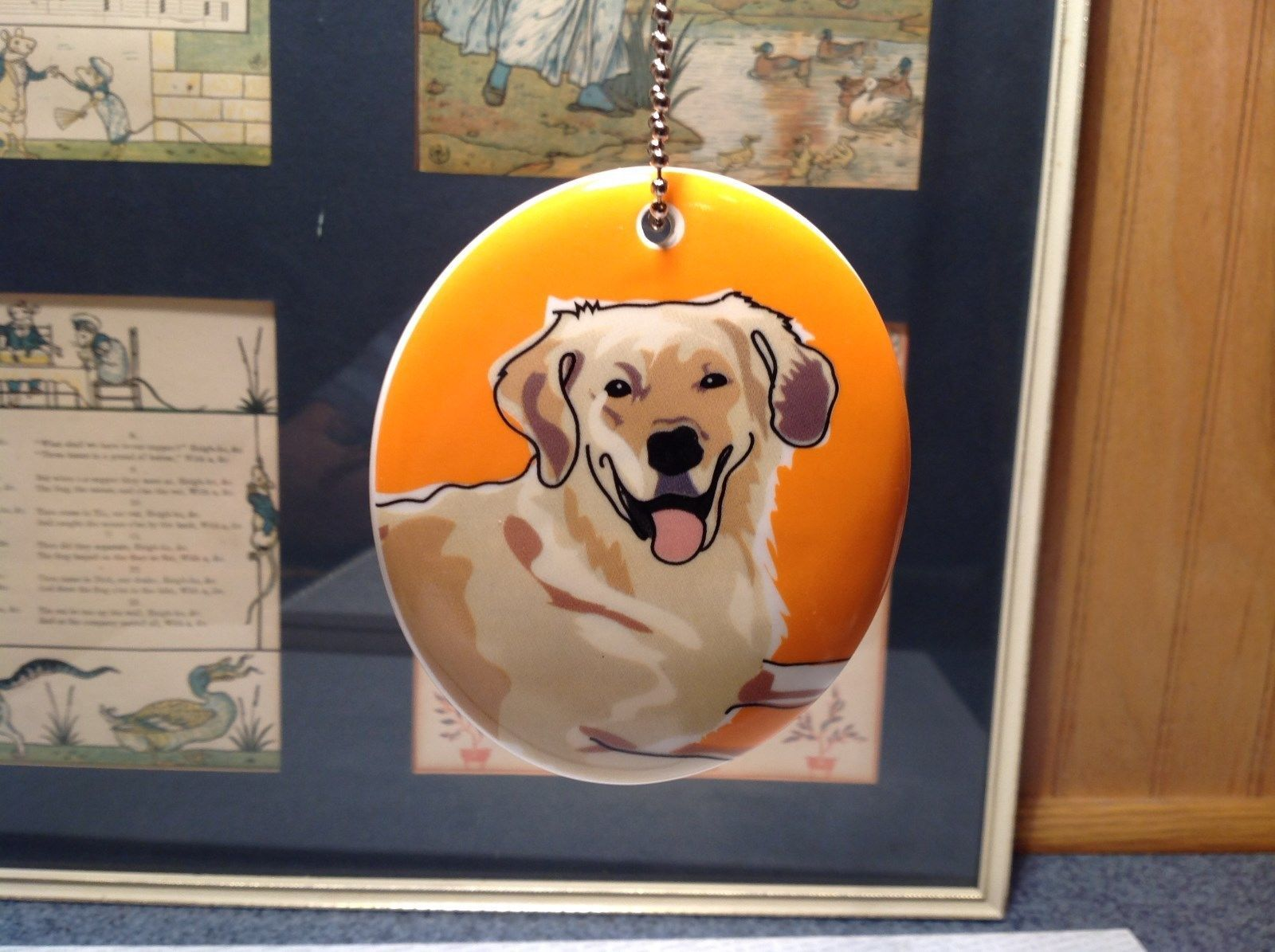 Oval Ceramic Golden Retriever Dog Ornament w Metal Chain Department 56