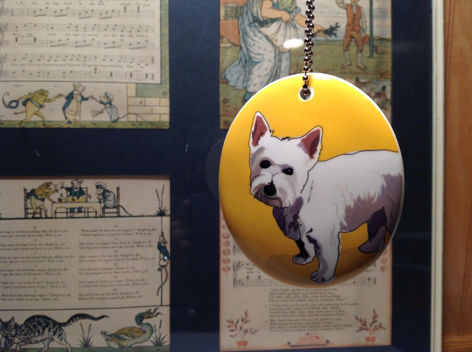 Oval Ceramic Westie Dog Yellow Background Ornament w Metal Chain Department 56