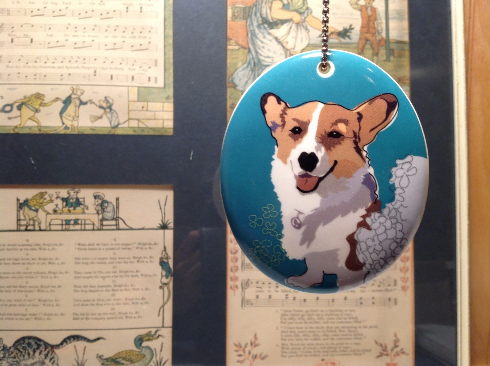 Oval Ceramic Corgi Dog Sea Blue Background Ornament w Metal Chain Department 56