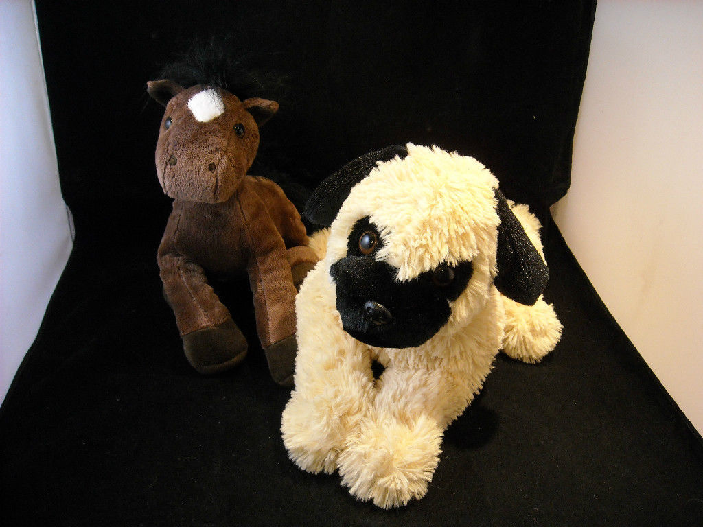 Pair of 2 Stuffed Animals, A Life Size Puppy Dog and Pony