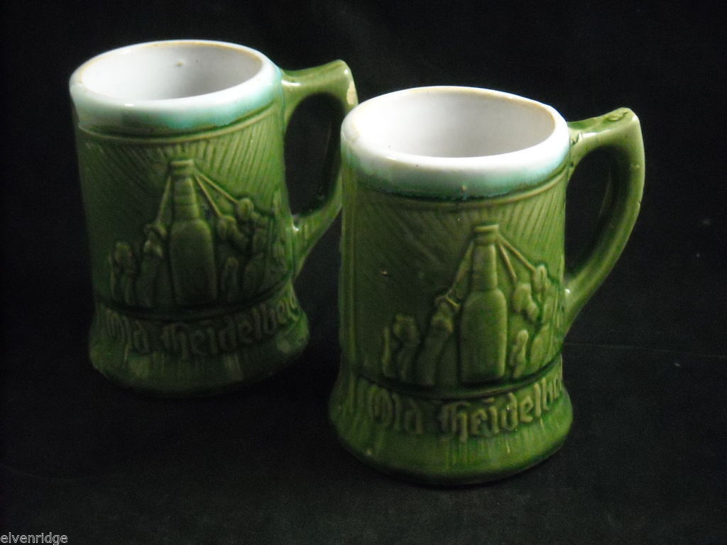 Pair of green vintage Beer Stein Mug from Germany