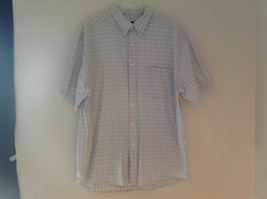 Pale Blue Pale Green Checkered Patterned Short Sleeve Shirt Eddie Bauer Size L
