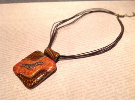 Amber Orange Square Pendant Necklace with Light Brown Crystals Multi Strand image 2