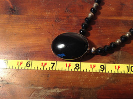 Large Black Onyx Pendant Set in  Sterling Silver Necklace Metal Black onyx Beads image 7