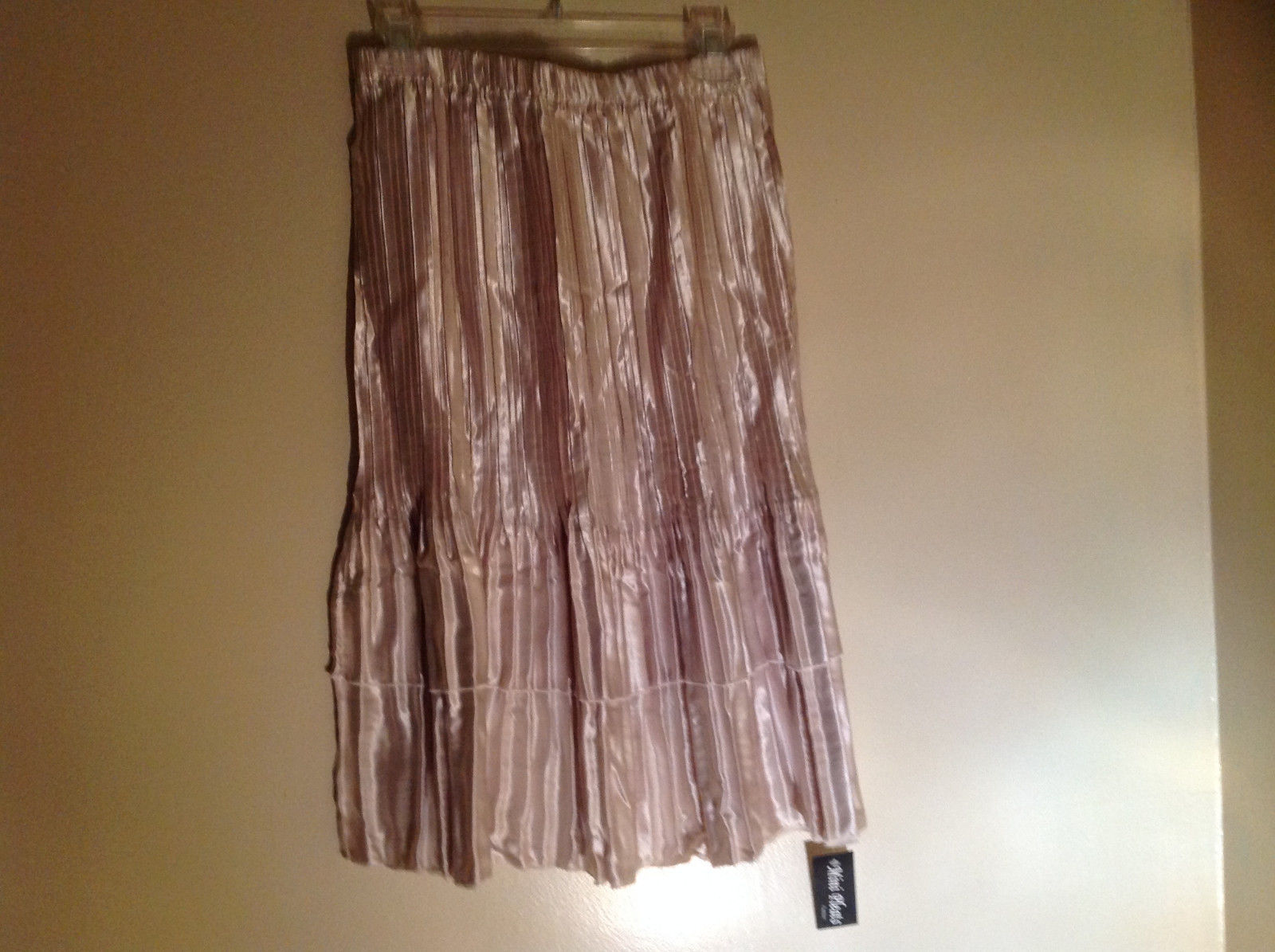 Pale Pink Calf Length Pleated Skirt Shiny Material by Magic Scarf Co.