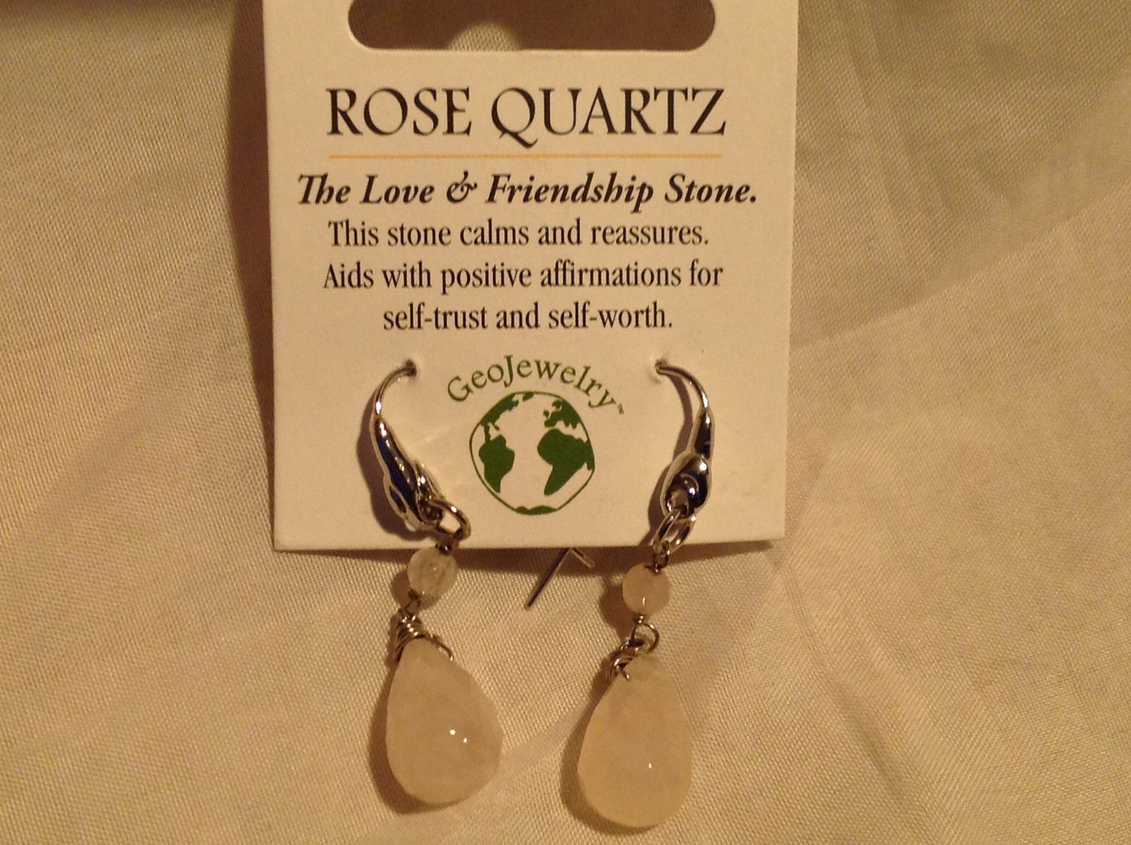 Lovely Rose Quartz Crystal Silver Tone Drop Earrings Hook Back GeoJewelry