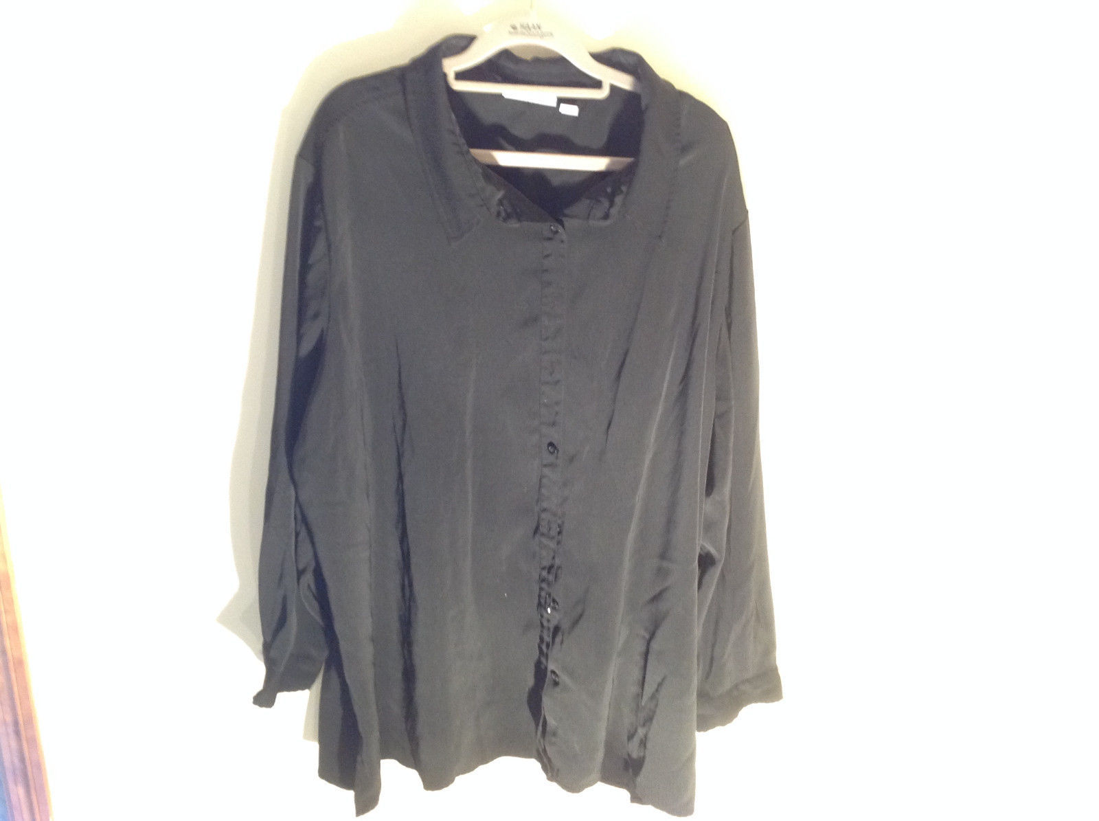Lovely Susan Graver Black Jacket Shirt Button Up Long Sleeve Collared Size 3X