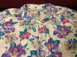 Alfred Dunner Ladies Size 44 Floral Brown Blue Hot Pink Blouse Made in Indonesia image 5