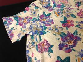 Alfred Dunner Ladies Size 44 Floral Brown Blue Hot Pink Blouse Made in Indonesia image 4