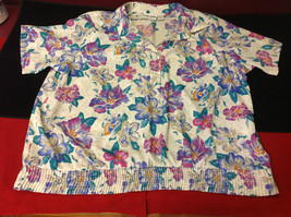 Alfred Dunner Ladies Size 44 Floral Brown Blue Hot Pink Blouse Made in Indonesia image 7