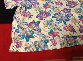 Alfred Dunner Ladies Size 44 Floral Brown Blue Hot Pink Blouse Made in Indonesia image 3