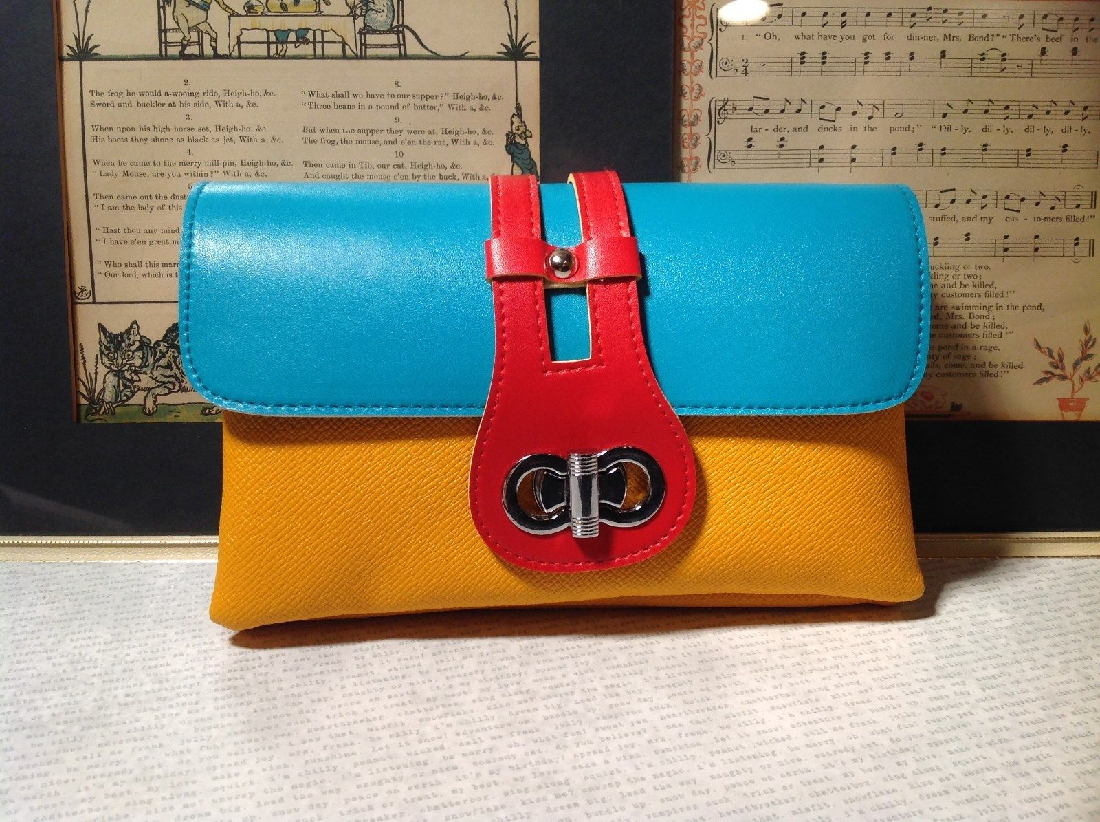 Mad About Style Yellow Teal and Red Block Clutch Bag Attachable Shoulder Strap