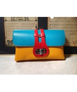 Mad About Style Yellow Teal and Red Block Clutch Bag Attachable Shoulder... - $24.74