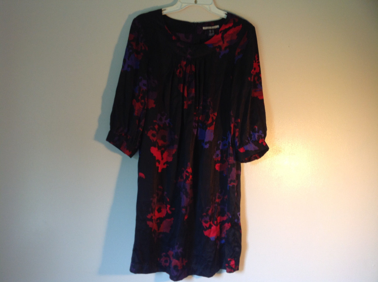 Mac and Jac Black Flowered Dress Size Medium Three Quarter Length Sleeves
