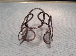 Large Intertwined Ovals Handcrafted Silver Plated Cuff Bracelet 925 Sterling image 2