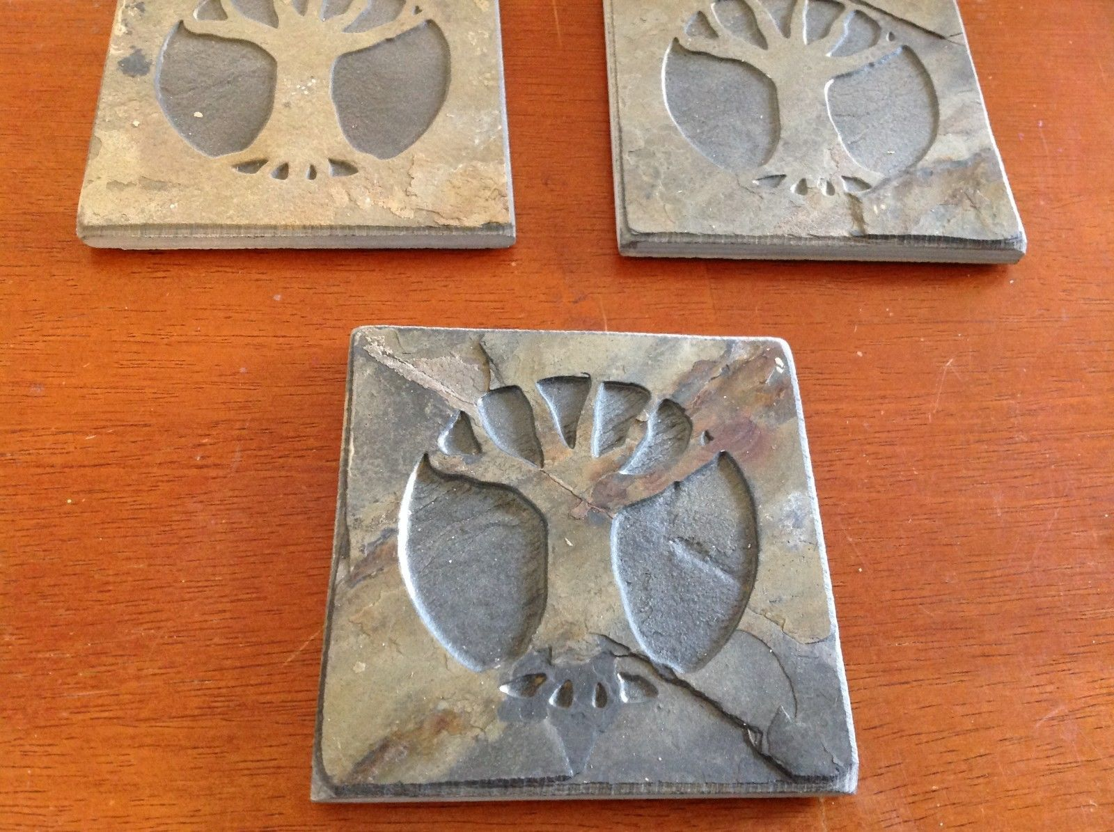 "Made USA slate tile coaster engraved  4"" square Tree of Life in Winter"