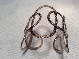 Large Intertwined Ovals Handcrafted Silver Plated Cuff Bracelet 925 Sterling image 3