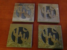 "Made in USA slate tile coaster engraved saguaro cactus crescent moon  4"" square"