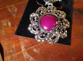 Large Purple Stone with Small Light Pink Crystals Silver Tone Scarf Pendant image 2